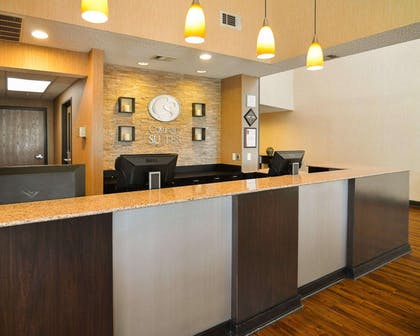 Front desk with friendly staff | Comfort Suites DFW Airport