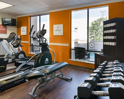 Fitness center with free weights   Comfort Suites Houston West at Clay Road