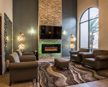 Spacious lobby with sitting area | Comfort Suites Stafford Near Sugarland