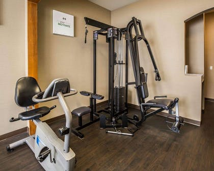 Fitness center with cardio equipment and weights | Comfort Suites Stafford Near Sugarland