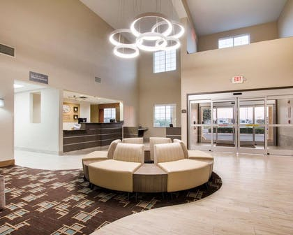 Spacious lobby with sitting area | Comfort Suites San Angelo near University