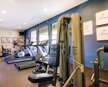 Fitness center with cardio equipment and weights | Comfort Suites Fort Stockton