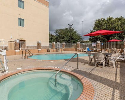Outdoor pool with sundeck | Comfort Suites at Katy Mills