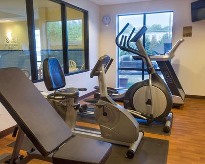 Fitness center with cardio equipment and weights | Comfort Suites Fredericksburg North