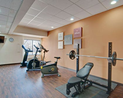 Exercise room with cardio equipment and weights   Comfort Suites Salem-Roanoke I-81