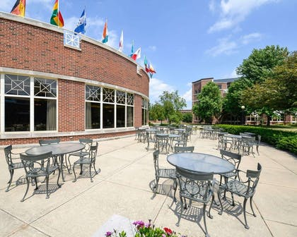 Relax on the hotel patio | Kress Inn, an Ascend Hotel Collection Member