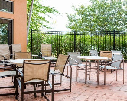 Relax on the hotel patio   Cambria Hotel Madison East