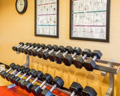 Fitness center with cardio equipment and weights | Cambria Hotel Appleton