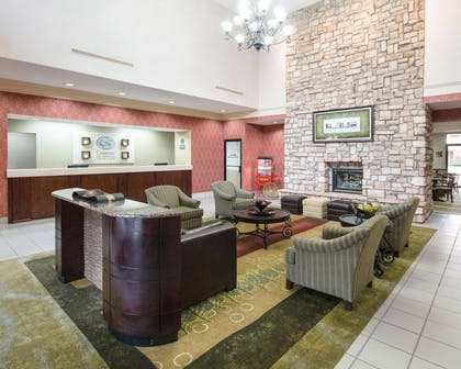Lobby with fireplace | Comfort Suites Parkersburg South