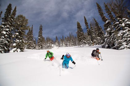 Three Powder Skiers at Jackson Hole Mountain Resort | Hotel Terra Jackson Hole - A Noble House Resort
