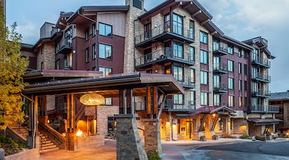 Hotel Terra Entrance at Dusk | Hotel Terra Jackson Hole - A Noble House Resort