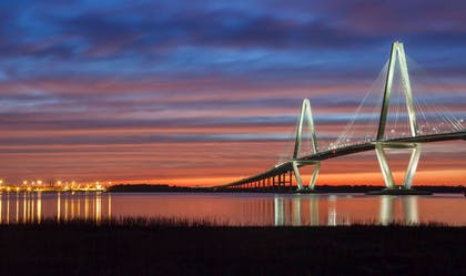 Arthur Ravenel Bridge at sunset | Cambria Hotel Mount Pleasant – Charleston