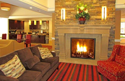 lodge lobby fireplace | Penn Wells Historic Hotel