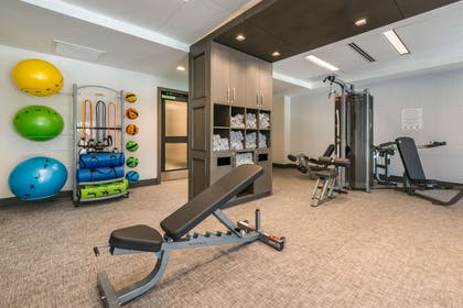 Exercise room with cardio equipment and weights | Cambria Hotel Houston Downtown Convention Center