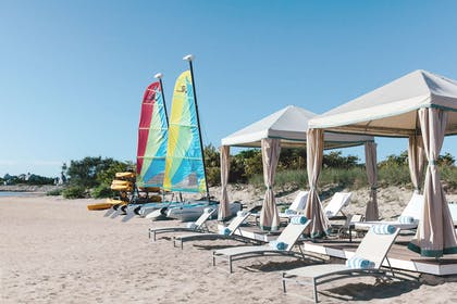 Cabanas with Hobie Cats   Chatham Bars Inn