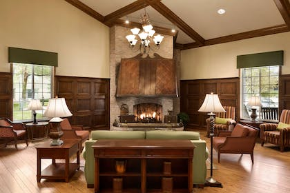 Living Room With Fireplace | Country Inn & Suites by Radisson, Chanhassen, MN