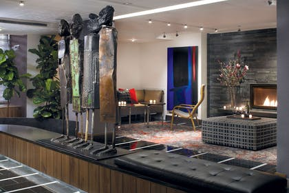 Lobby Fireplace | Fifty Hotel & Suites