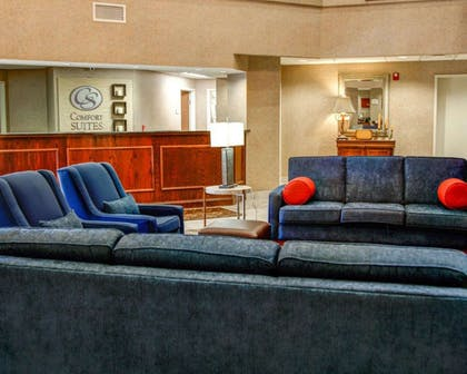 Spacious lobby with sitting area | Comfort Suites Gadsden Attalla