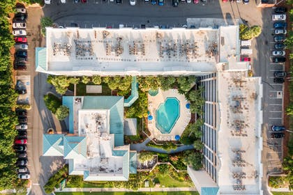 Aerial of pool | Quality Suites
