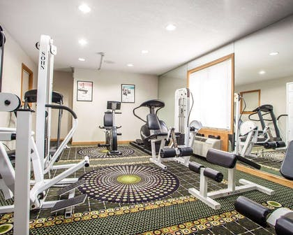 Exercise room with cardio equipment and weights | Comfort Inn