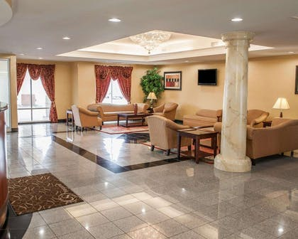 Spacious lobby with sitting area | Comfort Suites near Indianapolis Airport