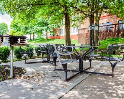 Picnic area with barbecue grills | Quality Inn & Suites Kansas City Airport North