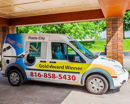Hotel shuttle available | Quality Inn & Suites Kansas City Airport North