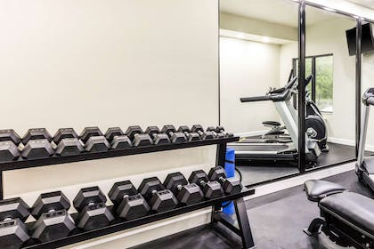 Exercise room with cardio equipment and weights   Sleep Inn