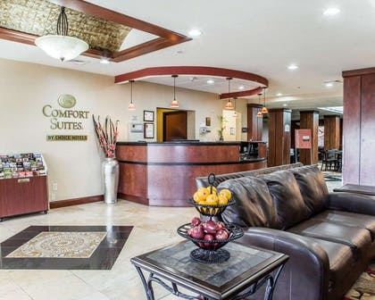 Spacious lobby with sitting area | Comfort Suites Four Seasons