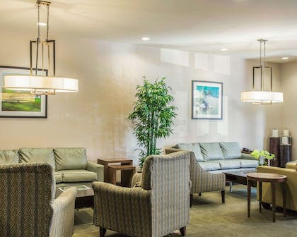 Spacious lobby with sitting area | Comfort Suites Lake Norman - Huntersville