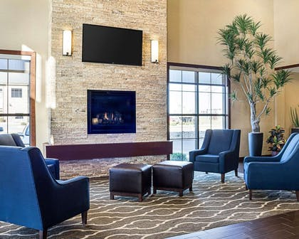 Lobby with fireplace | Comfort Suites Medical Center