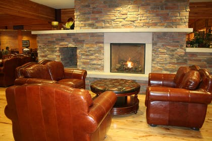Relax by the fireplace in the lobby | Norfolk Lodge & Suites, an Ascend Hotel Collection Member