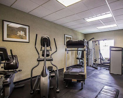 Fitness center with cardio equipment and weights | Quality Inn & Suites Fishkill South near I-84