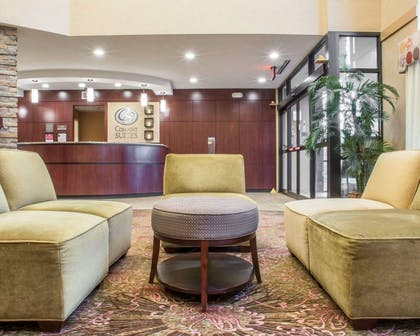 Spacious lobby with sitting area | Comfort Suites Cicero - Syracuse North
