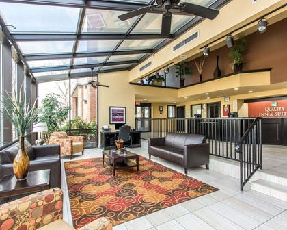 Spacious lobby with sitting area | Quality Inn & Suites Fairgrounds West